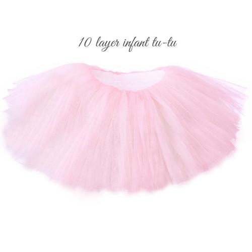 TU-2  0-6 Months 10 Layer Soft Pastel Pink Tu-Tu for Baby
