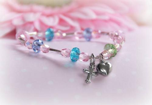 "CJ-383 Pastel Crystals Baby Bracelet 5"""