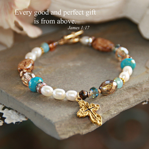 IN-717  Every Good and Perfect Gift Beaded Bracelet