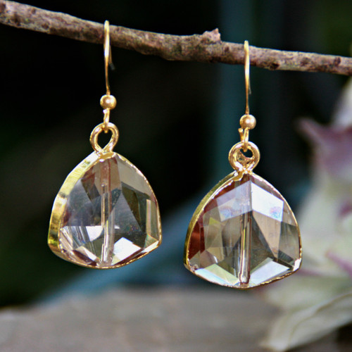 IS-807E  Gilded Faceted Crystal Earrings