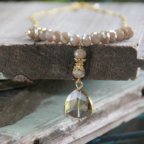 IS-807  Gilded Drop Crystal Necklace