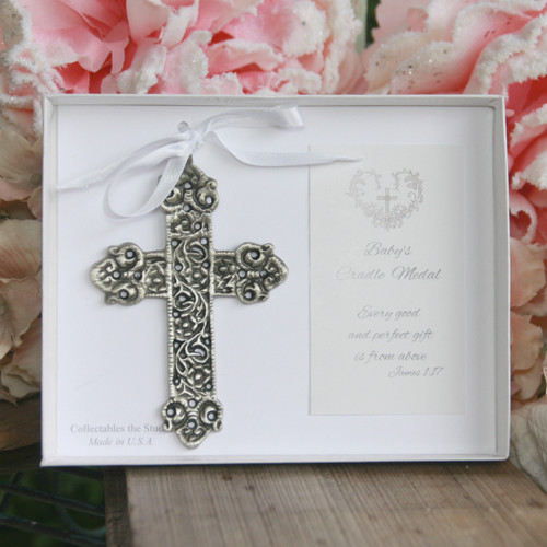 CJ-142  Lace Cross Cradle Medal for Baby