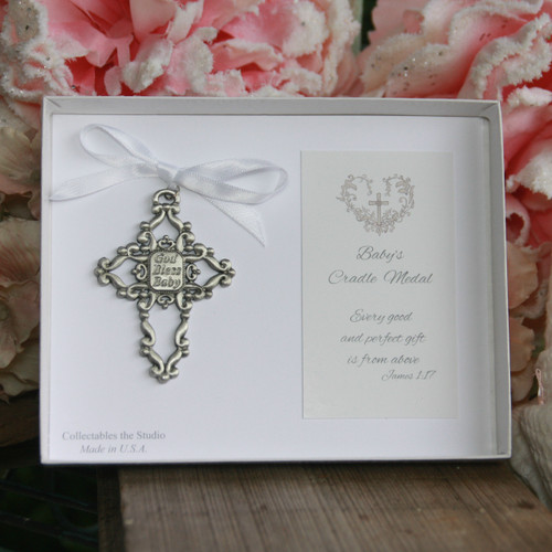 CJ-345W  God Bless Baby Cradle Medal White Ribbon