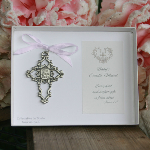 BB-345P  God Bless Baby Cradle Medal  Pink Ribbon