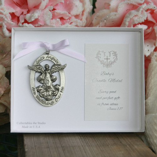 CJ-347P  God's Angels Watching Over Me Cradle Medal Pink Ribbon