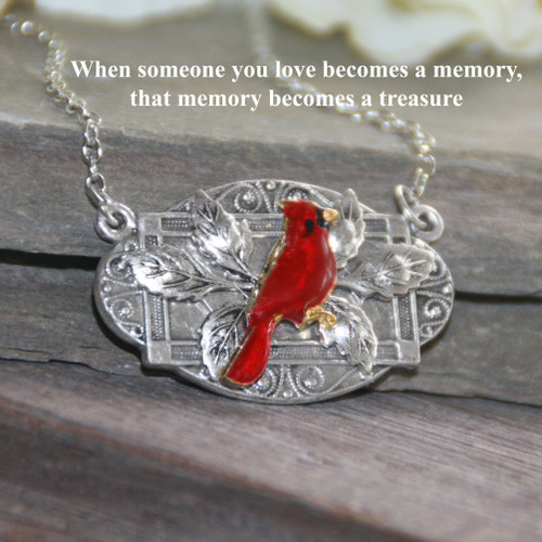 IN-627  Stunning Cardinal Memory Necklace