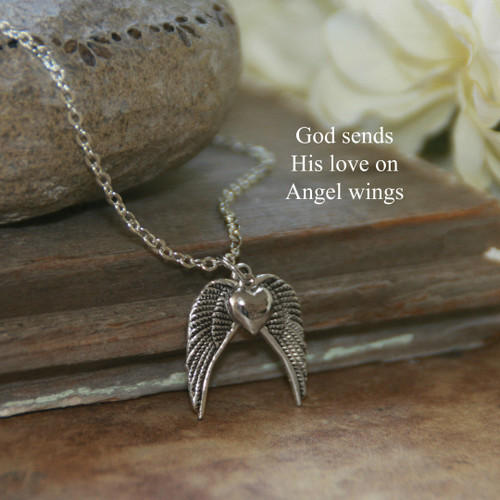 IN-601  God sends His love on Angel Wings Necklace