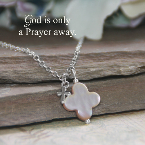 IN-606  Mother of Pearl Cross Necklace God is only a Prayer away
