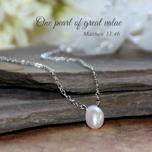 IN-608S  One Pearl of Great Value Necklace FW Pearl Rhodium