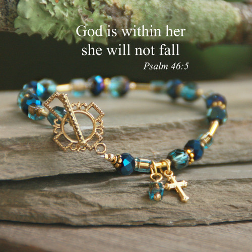 IN-732  God is Within Her She will not Fail Bracelet