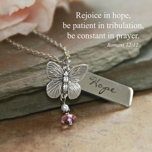 IN-614  Rejoice in Hope Butterfly Necklace Romans 12:12