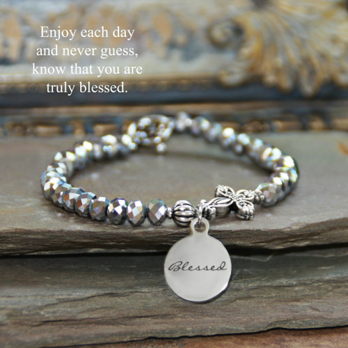 IN-730  Know that you are Blessing Silver Crystals Bracelet