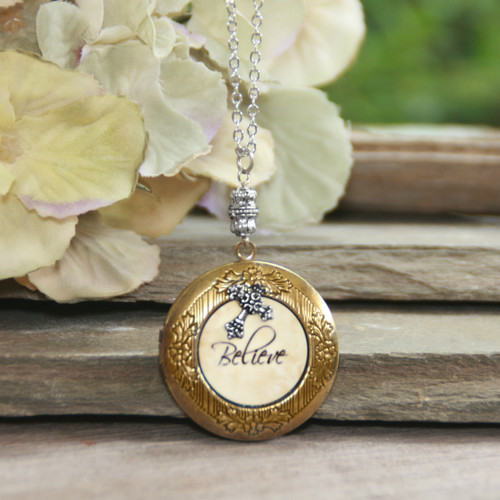 IN-648  Believe Locket Necklace