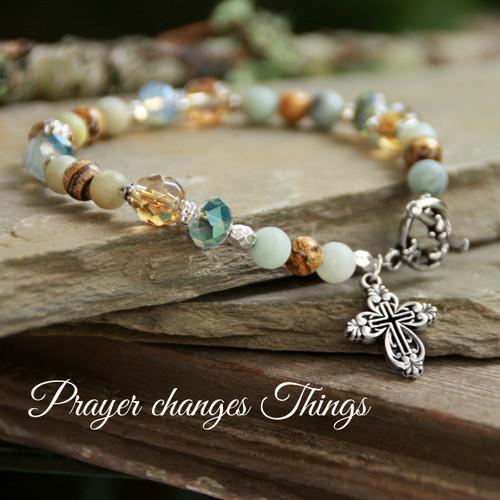 IN-734  Amazonite Prayer Changes Things Bracelet