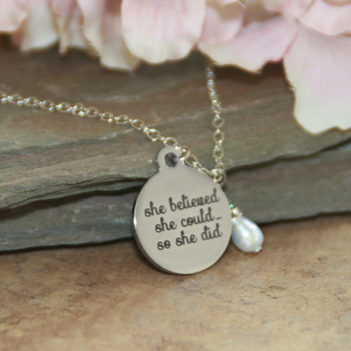 IN-615  She Believed She Could so She Did Necklace