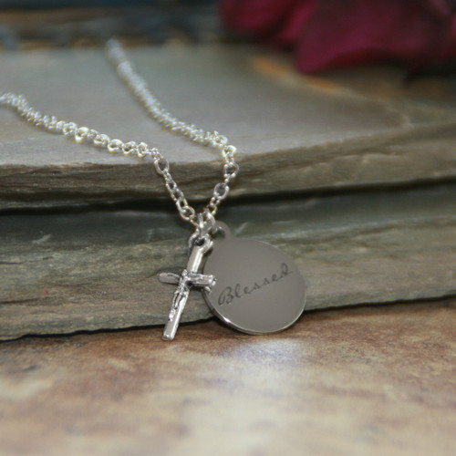 IN-623  Blessed Charm with Crucifix Necklace