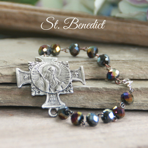 IS-814  Stunning St. Benedict Bracelet Peacock Jet Color