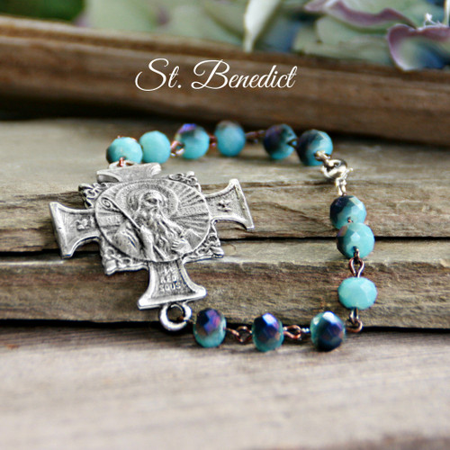IS-815  Stunning St. Benedict Bracelet Beautiful Blue