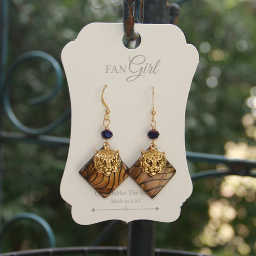 TG-44  Mother of Pearl Tiger Earrings (limited)