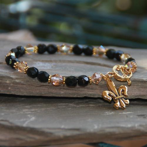 NOST-6  Black and Gold Saints Bracelet