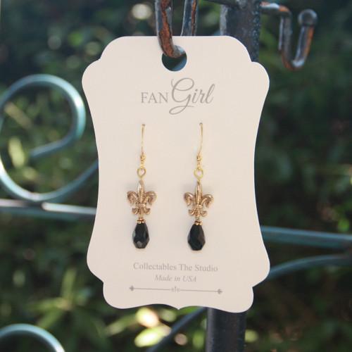 NOST-4  Teardrop Crystal New Orleans Saints Earrings