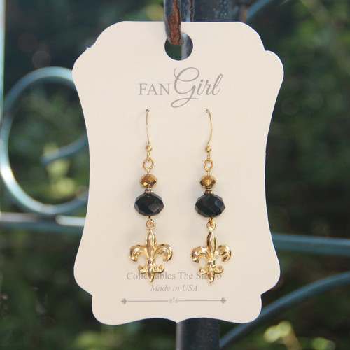 NOST-9  Beaded New Orleans Saints Earrings
