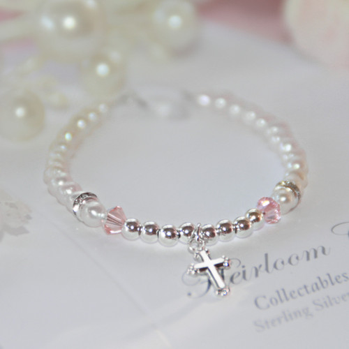 STG-273-4.5  Freshwater Pearls and Sterling Silver Infant Bracelet