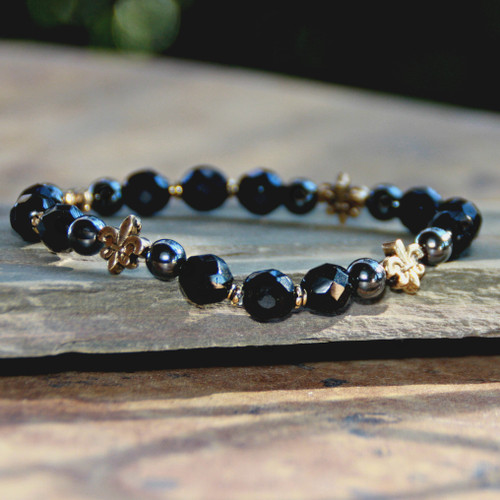 NOST-7  Black and Gold Stretchy Bracelet