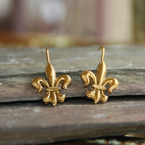 FER-49  Lever Back Gold Fleur de Lis Earrings