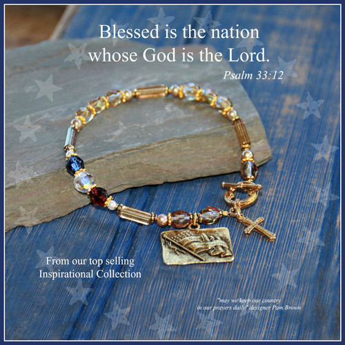 IN-736  Blessed is the Nation beautiful Bracelet