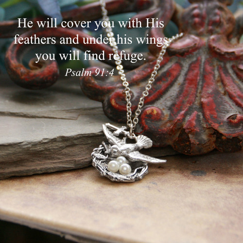 IN-653  Bird Nest Scripture Necklace