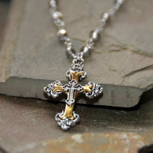 IN-655  Stuning Cross on beaded chain Necklace