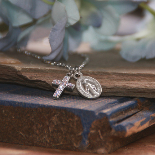 IN-656  Dainty Mary Medal and Dainty Swarovski Crystal Cross