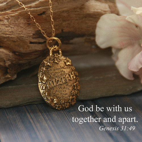 IN-657  MIZPAH God be with us together and apart Necklace