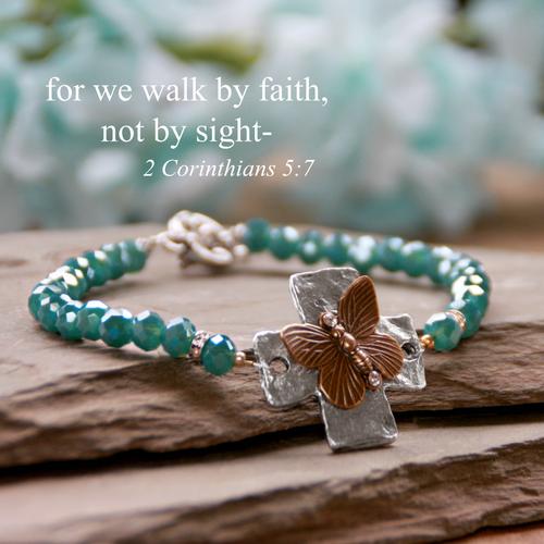IN-739  I will walk by Faith Butterfly Bracelet