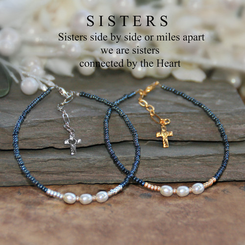IN-742G  Freshwater Pearls and Gold tone accents SISTERS bracelet