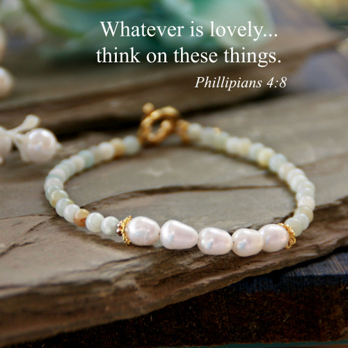 IN-745W  Whatever is lovely Freshwater Pearl Gem Bracelet