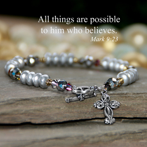 IN-741  Oodles of silvertone All things are possible Bracelet