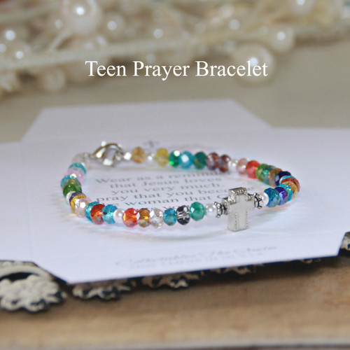 TN-13  Teen Prayer Bracelet with lots of Color beautiful crystals