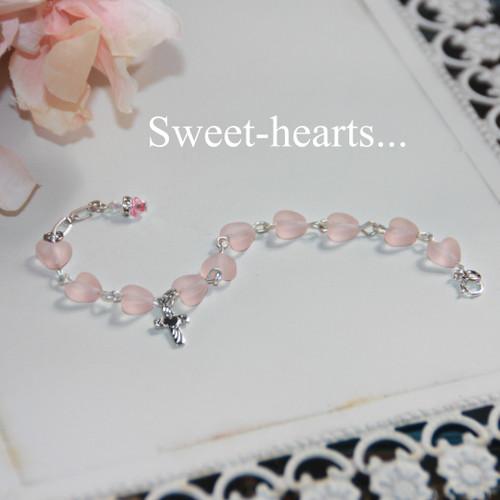 CJ-192  Sweet little Heart link style Bracelet with Cross Adjustable