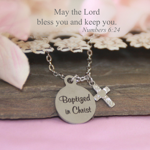 CJ-563  Baptized in Christ Stainless Steel Necklace can be Engraved on backside too