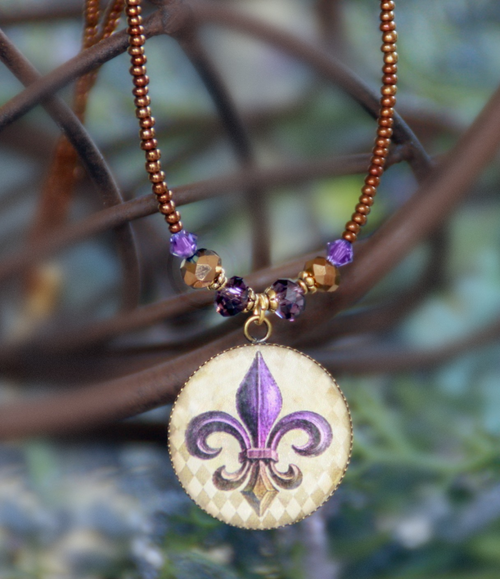 ART-224 Purple & Gold Fleur de Lis ART necklace