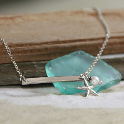 OC-10S   In Style Starfish Bar Necklace Silver finish