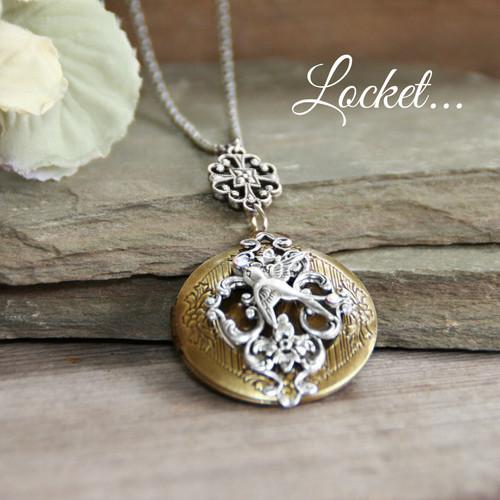 IN-650  Bird on Lace Design Locket Necklace
