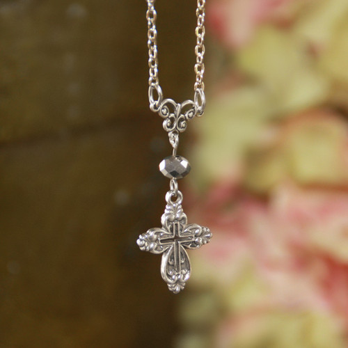 IN-486  Simple Timeless Cross Drop Necklace