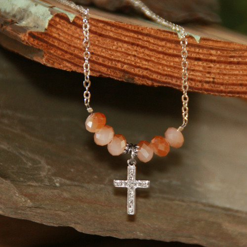 IN-588  Sunrise Crystal Cross Necklace