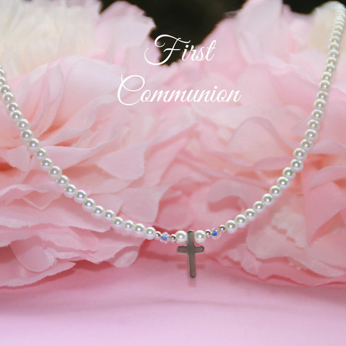 CJ-565  First Communion Pearl and Cross Necklace