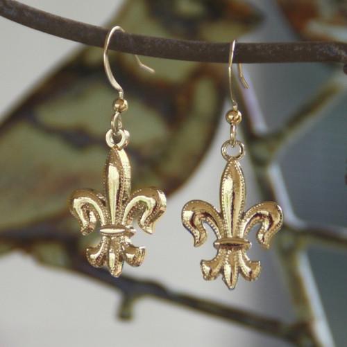 FER-100 Gold Finish Fleur de Lis Earrings