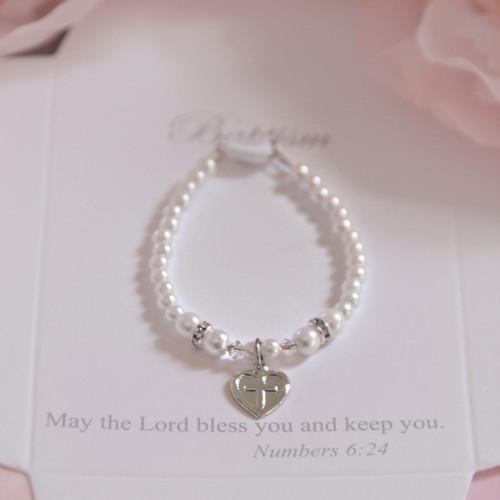 "CJ-570-5  Baptism 5"" Glass Pearl Bracelet"