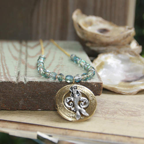OC-27  Mermaid on a Locket in Style Necklace